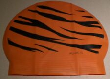 New in Bag AQUALIS Kids Junior ORANGE TIGER PRINT Latex Swim Cap - Swimming
