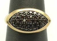 14K Yellow Gold 1.20 CTW Brown Smoky Diamond Cluster Marquise Cocktail Ring Sz 7