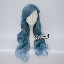 Mixed Blue 60CM Lolita Curly Ombre Braid Party Cosplay Wig Heat Resistant + Cap