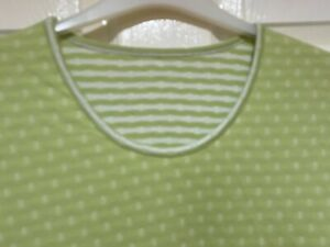COTTON TRADERS REVERSIBLE GREEN STRIPE/PLAIN TUNIC LENGTH TOP SIZE 16 - VGC