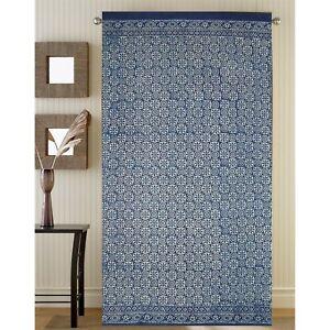 Handmade 100% Cotton Indigo Dabu Floral Block Print Curtain Drape Panel 46x88