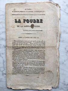 """1832, """"La Foudre de la Saint-Sylvestre"""" Presse Royaliste Légitimiste"""