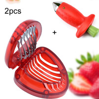 2PC Strawberry Slicer Cutter+Huller Stem Remover Corer Slicer Split Digging Tool