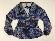 Apple Bottoms Womens Long Sleeve Shirt Size 1X Blue Black Blouse V-Neck