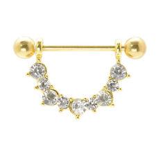 Crystal gem Gold titanium plated nipple shield bar barbell 14g (1.6 mm x 18 mm)