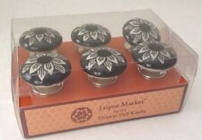 New Ceramic Cabinet Knobs Cupboard Drawer Pull Set of 6 Black/Ivory/Silver