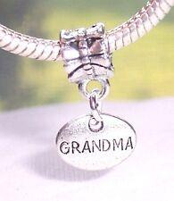 Grandma Grandmother Granddaughter Small Oval Dangle Charm for European Bracelets