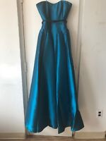 New Badgley Mischka Cone Godet Strapless Evening Gown Peacock SZ 2 $1,100