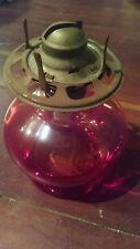 """Vintage Ribbed Pedestal Oil Lamp Thick Waist 7"""" tall red round bowel"""