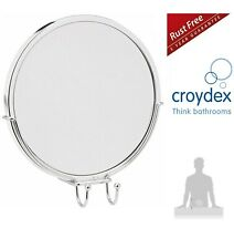 CROYDEX ANTI-FOG ACRYLIC MIRROR & RAZOR HOLDER STICK 'N' LOCK BATHROOM MIRROR