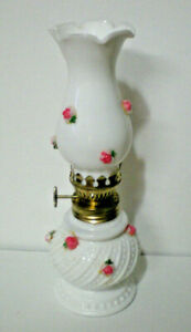 """Vintage miniature oil lamp milk glass with rose, hobnail swirl 8"""" tall"""