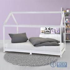 Lit d'enfants bois massif de pin 90x200cm blanc lit de jeu chambre maison cabane