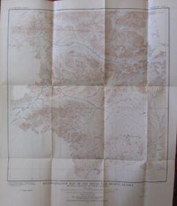 Folded Reconnaissance Map Broad Pass Alaska West Fork Nehana Yanert Glacier 1917