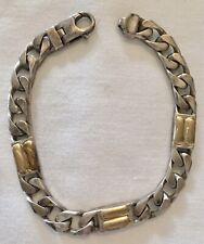 Heavy Link Sterling Silver And 18k Gold Marked 925 750 Bracelet 43g