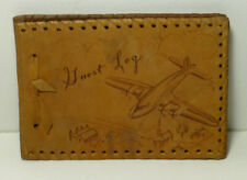 VINTAGE LEATHER PHOTO ALBUM Guest Travel Log Airplane Cover 1952