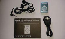 MEDION Aluminium Design Clip-MP3-Player E60011 / TÜRKIS mit Ohrhörer NEU !