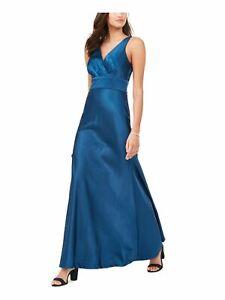 NIGHTWAY Womens Blue Sleeveless Maxi Sheath Evening Dress Petites Size: 4P