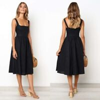 Solid Party Summer Long  Dress Cocktail Dresses Women's Sleeveless Fashion