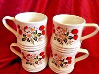 "Sheffield Strawberries 'n Cream Stoneware 3 3/4"" Coffee Mugs Set Of 4"