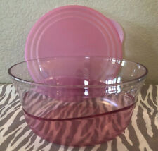 Tupperware Acrylic Preludio Serving Bowl Sheer w/ Pink 10 Cups New
