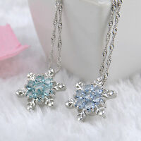 Women Snowflake Charm Silver Necklace Flower Chic Elegant Crystal Pendant+Chain