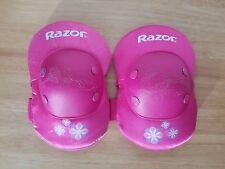 Razor pink knee pads, size Medium Youth. Purple & blue flowers