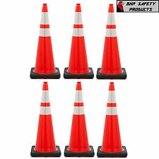 "36"" INCH ORANGE SAFETY TRAFFIC CONES BLACK BASE 3M RELFECTIVE COLLARS (6 PACK)"