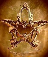 schwerer bronze anhänger pentagramm aus fledermäusen gothic pagan wicca + kette
