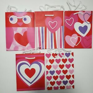 Hallmark Inspirations Small Gift Bags Hearts Owl Valentines Day-LOT OF 2=10 Bags