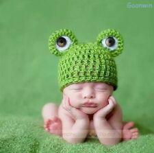 Neugeborene Baby Knit Strick Fotoshooting Kostüm Grün Frosch Mütze