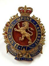 More details for very scarce edinburgh and leith postal band brass enamel hat cap badge scotland
