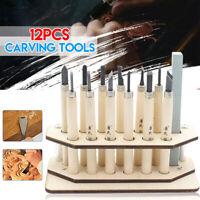 12Pcs Wood Carving Hand Chisel Tool Kit Set Woodworking Gouges +Holder+Whetstone