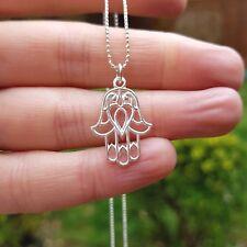 Designer Sterling Silver HAMSA necklace Hand of Fatima Chakra Spritual jewellery