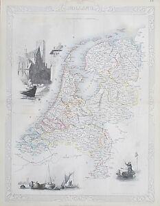c1854 HOLLAND NETHERLANDS Genuine Antique Map by Rapkin FREE POSTAGE WORLDWIDE