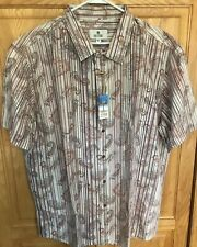 Solitude Paisley Print Short Sleeve Shirt tan stripe cotton Mens Size XL NWT new