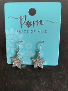POM Boutique Silver Plated  Crystal Inset Star Drop Earrings