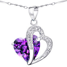 Sterling Silver 5.66 Ct Created Amethyst Heart Shaped Gemstone Pendant Necklace