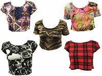 Womens Ladies Animal Aztec Skull Camo Print Cap Sleeve Short Crop Top 8-14
