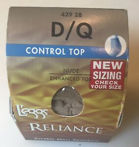 L'eggs Reliance Durably Sheer Pantyhouse Size D/Q Contol Tope Nude
