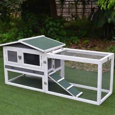 Wooden Outdoor Bunny Hutch Rabbit Cage Chicken Duck Coop Large PET House