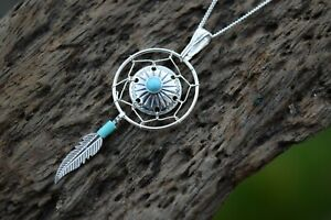 NATIVE AMERICAN MEDICINE SHIELD 925 STERLING SILVER GEMSTONE TURQUOISE NECKLACE