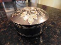Vintage jewelry box brass metal etched flowers leaves round trinket box jar lid