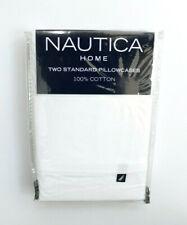 Nautica Home Solid White T200 Percale Standard Pillowcase Pair