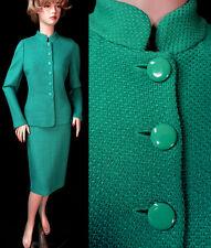 $1890 NWT ST JOHN Verde Sheen Dash Knit Fitted 6 buttons Skirt Suit sz 8