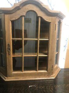 Vintage Oak Curiosity Display Wall Cabinet. Glass.