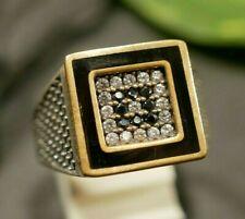 925 Sterling Silber Ring Siegelring Teil Vergoldet Black White Email Schwarz
