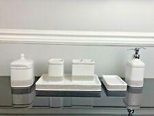 6Pc BELLA LUX Style Rhinestone Crystal Ceramic White Soap Dispenser Bathroom Set