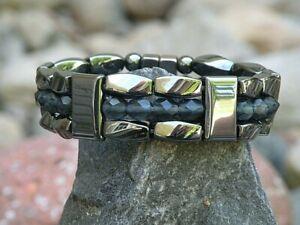 Black Magnetic Hematite Bracelet Anklet Necklace w 6mm Montana Blue Crystals 3rw