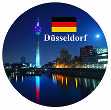 DUSSELDORF, GERMANY - SIGHTS / FLAG - ROUND SOUVENIR FRIDGE MAGNET - NEW  GIFTS