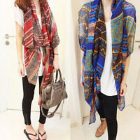 Hot Lady Red Vintage Women Long Snug Cotton Voile Print Scarves Shawl Wrap Scarf